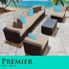 """Premier Modern 7 Piece Outdoor Wicker Patio Sofa Sectional Furniture All Weather Set 07A by TK Classics. $1443.00. """"No Sag"""" solid wicker bottoms with extra flexible strapping providing long-lasting suspension. Zippered cushion covers made with Outdoor UV Protected Fabric - Removable and Washable. High Density PE (polyethylene) recyclable wicker - NOT made with PVC which is toxic and non-recyclable. Strong and rust resistant Powder Coated Aluminum Frame for maximum ..."""
