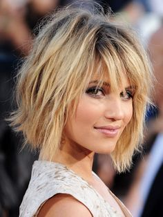 Dianna Agron from Glee puts a new spin on the classic bob. She wears it a little messy with just the right mix of fresh beach wave. This is created by adding a little tease into this otherwise cutesy cut. Try out this style hot celebrity style if you have a round face.