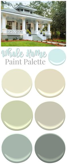 Southern Home Paint Color Palette Southern Romance Idea House - a 1906 fixer upper home makeover - Paint palette color source Exterior Paint Colors, Paint Colors For Home, House Colors, Paint Colours, Home Paint, Cottage Paint Colors, Fixer Upper Paint Colors, Diy Exterior, Exterior Makeover