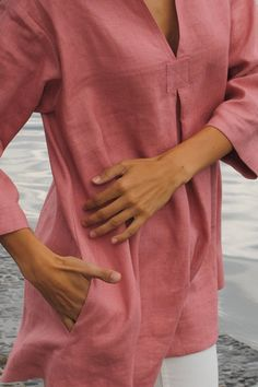 Pastel rose linen tunic linen tunic with pockets by feellinen
