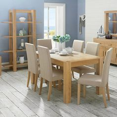 Debenhams Washed Oak Lyon Extending Table And Six Upholstered Chairs At