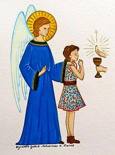 Elysabeth Gallois   Enlumineur de France   Image de communion : ange gardien…