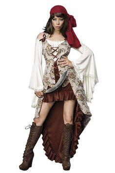 Dit sexy piraat bruid kostuum set bestaat uit Jacquard vest, hoofddoek, rok, zwaard en blouse