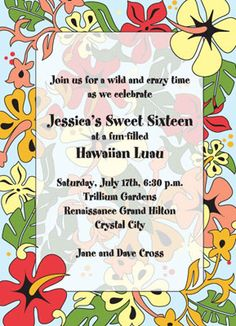 "Tropical Flowers  Party Invitation  6 3/4"" x 4 7/8""  Full Color as shown  $11.00 for 8 Invitations"