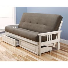 Somette Beli Mont Antique White Full-Size Futon Set with Suede Mattress and Storage Drawers