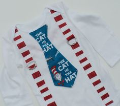 Custom Boutique  Dr Suess Cat In The Hat Tie T Shirt With Suspenders And Monogramming on Etsy, $29.00