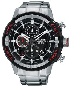 Pulsar Men's Chronograph On The Go Stainless Steel Bracelet Watch 47mm PM3047 - Men's Watches - Jewelry & Watches - Macy's