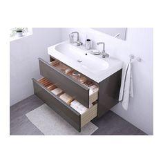 GODMORGON / BRÅVIKEN Kast voor wastafel met 2 lades - hoogglans grijs - IKEA