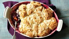 Rick Stein uses a food processor to whizz together the topping for his sticky damson cobbler - it's up to the oven to do the hard work.