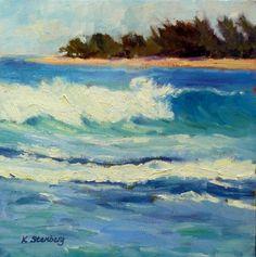 Kauai Waves II Original Oil Painting Ocean by KimStenbergFineArt, $150.00