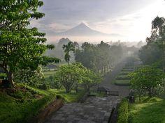 Borobudur Temple courtyard, Java, Indonesia.