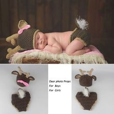 Deer Girl Baby Photography Prop Outfit Hat Cap Halloween Costume Holiday Rudolph Newborn Infant