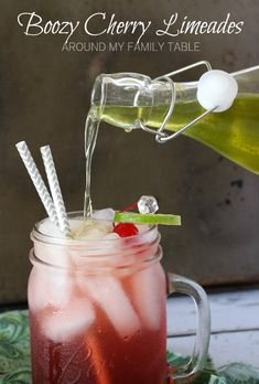 Turn your favorite summertime drink into something for grown ups only!  Love this  Boozy Cherry Limeade Recipe. #makeityourown: