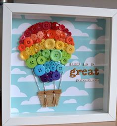Trendy Ideas Craft Babyzimmer Heißluftballon The Effective Pictures We Offer You About baby room decor modern A quality picture can tell you many … Summer Crafts, Fun Crafts, Diy And Crafts, Crafts For Kids, Arts And Crafts, Stick Crafts, Paper Crafts, Button Art, Button Crafts