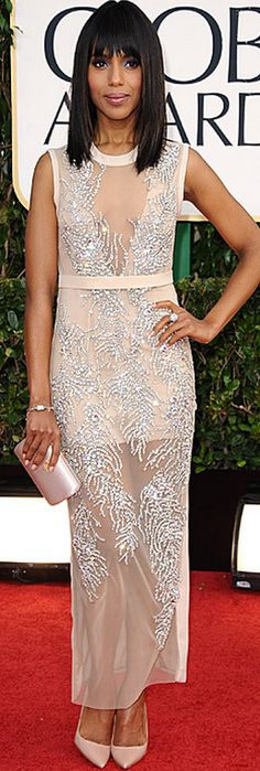 Who made Kerry Washington's nude beaded gown, jewelry, shoes, and clutch purse that she wore to the 2013 Golden Globes in Beverly Hills?