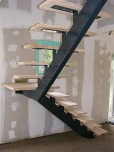 Teds Wood Working - escalier sur mesure limon central - Get A Lifetime Of Project Ideas & Inspiration! Staircase Design Modern, Home Stairs Design, Modern Stairs, Interior Stairs, House Design, Concrete Staircase, Spiral Staircase, Stair Railing, Staircase Ideas