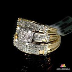 New Men Women 10K Yellow Gold Diamond Round Cut Ring Trio Set 0.33 Ct.tdw #aonedesigns