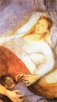 Death of a mother (Śmierć matki) 1894 - Stanisław Wyspiański (Polish, Mother Art, Memento Mori, Portrait, Impressionism, Sculptures, Art Gallery, Illustration Art, Places To Visit, Art