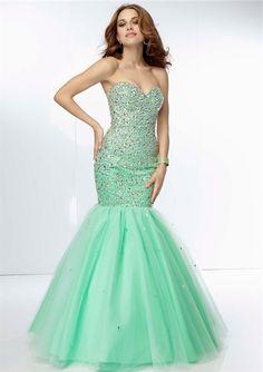 Classy Mermaid Sweetheart Long Mint Green Tulle Beaded Prom Dress Corset Back
