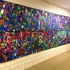 The mural is now complete! So proud of my second graders for pulling this beautiful mural off! I literally never want to… Group Art Projects, Collaborative Art Projects, Toddler Art Projects, School Art Projects, Elementary Art Rooms, Art Lessons Elementary, Montessori Art, Kindergarten Art Projects, School Murals