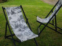 Relooking chaises longues en Toile de Jouy