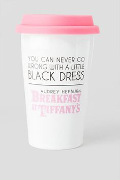 "This charming ceramic travel mug features a picture of the delightful Audrey Hepburn as Holly Golightly. The back of the mug reads, ""You can never go wrong with a little black dress.""<br />  <br />  - Double walled to keep drinks hot<br />  - 8 oz. ceramic cup with silicon lid<br />  - Dishwasher and microwave safe<br />  - Imported<br />"