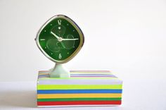 Vintage Mint Green Alarm Clock With Rotating by thelittlebiker