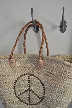 Peace straw bag