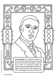 Garrett Morgan Coloring Sheet (inventor Of The Traffic Light And Gas Mask)