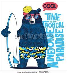 cute surfer bear vector design for kids t-shirt