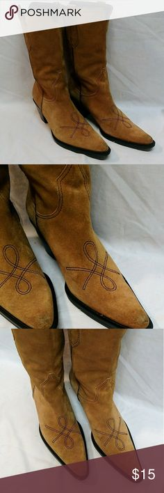 Franco Sarto Tan Suede Cowboy Boots. Size 6M Franco Sarto soft suede tan cowboy boots.  Size 6M  Shows slight wear on the heels, toes and around the cuffs of the boots. Please see all photos.  The still have a lot of life left in them.   Ships in 1 business day.  Smoke free environment.   Please let me know if you have any questions.   Thanks! Franco Sarto Shoes Heeled Boots