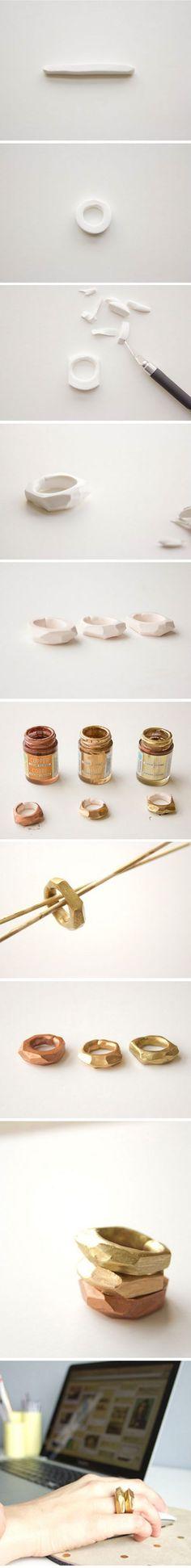 TUTORIAL handmade geometric rings made of polymer clay, faux metal http://media-cache-ec0.pinimg.com/originals/68/db/e9/68dbe915e960b80c24becfb9e6aae6b1.jpg: