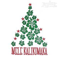Mele Kalikimaka Christmas Tree Embroidery Designs