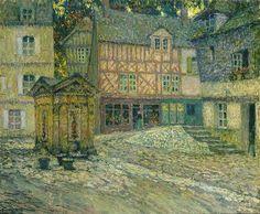 Henri Eugène Augustin le Sidaner, LA PLACE DU PUITS, HONFLEUR, 1921
