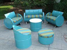 Drum Works Furniture Astoria Lagoon 6 Piece Sunbrella Sofa Set with Cushions Used Outdoor Furniture, Barrel Furniture, Green Furniture, Recycled Furniture, Pallet Furniture, Outdoor Decor, Indoor Outdoor, Antique Furniture, Modern Furniture