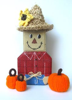 Scarecrow Fall Decoration Autumn Brick Paver by ALottaStitches, $25.00