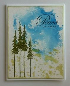By muscrat at splitcoaststampers. Background may have been made by spritzing ink applied to an acrylic block, then stamping on watercolor paper.