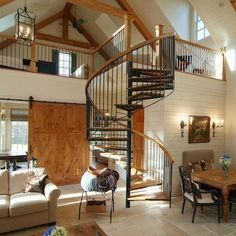 Iron and Wood Spiral Staircase