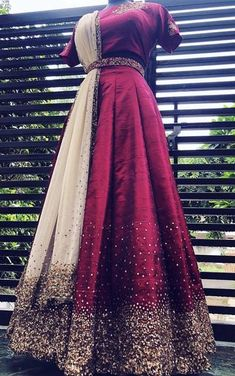 Wine Red raw silk Lehenga Set with pure zardosi and zari thread, be_you designer boutique, Whatsapp no 9496706971 Designer Party Wear Dresses, Indian Designer Outfits, Indian Outfits, Designer Wear, Indian Wedding Gowns, Indian Gowns Dresses, Pakistani Dresses, Wedding Dress, Long Gown Dress