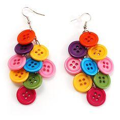 Multicoloured Plastic Button Drop Earrings (Silver Tone) [E00639]