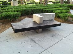 Wood meets concrete bench in San diego, CA