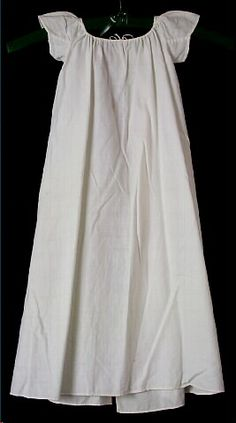 Dress, baby's, off-white homespun cotton dimity, petal-shaped cap sleeves, c. 1818