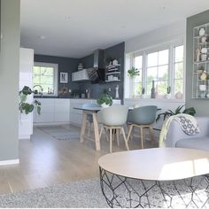 Gefällt 351 Mal, 19 Kommentare - Home🔹️Interior🔹️Design ( - Ulrike - Decor Open Plan Kitchen Dining Living, Living Room Kitchen, Home Decor Kitchen, Home Living Room, Living Room Designs, Living Room Decor, Beautiful Houses Interior, Beautiful Homes, Best Kitchen Designs