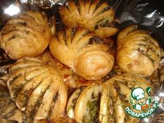 Картошка-гармошка Russian Recipes, Artichoke, Baked Potato, Shrimp, Potatoes, Cooking Recipes, Vegetarian, Meat, Vegetables