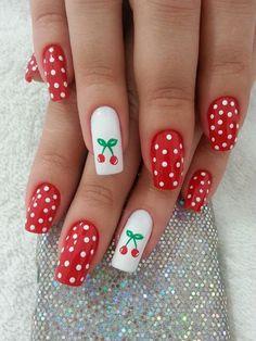 Love these pin up nails Dot Nail Art, Polka Dot Nails, Polka Dots, Red Dots, Ongles Pin Up, Pin Up Nails, Nail Art Vernis, Cherry Nail Art, Dot Nail Designs