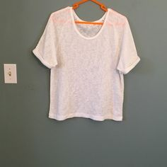 White oversized Zara shirt Worn once. In like new condition. Shirt is semi sheer. Size med Zara Tops Tees - Short Sleeve