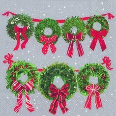 3580 GRI Servilleta decorada Navidad