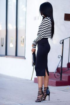 """A stripe crop top is a must for the effortless""""cool girl."""" Click on the picture to get it!"""