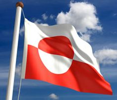 The flag of Greenland was officially adopted in 1985. The white is symbolic of the ice and snow that covers most of the island, and the red is symbolic of the sun.