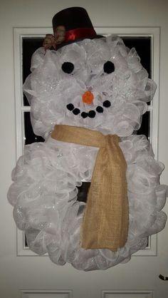 Christmas snowman wreath by Cindy
